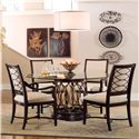 A.R.T. Furniture Inc Intrigue Upholstered Dining Arm Chair with Metal Fretwork - 61207-2636 - Shown with Upholstered Side Chairs & Round Glass Top Dining Table