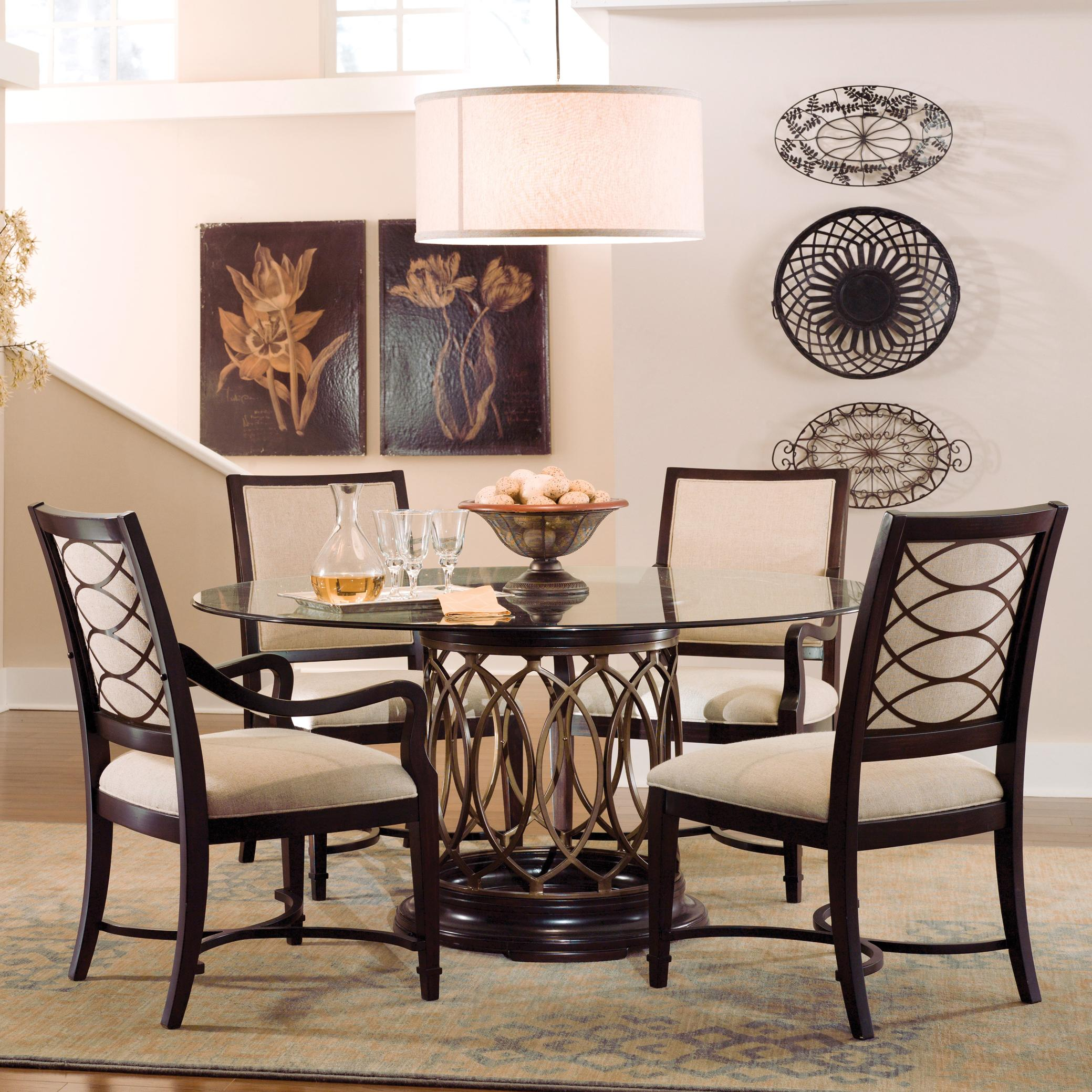 A R T Furniture Inc Intrigue Round Glass Top Dining Table With Upholstered Arm Side Chairs