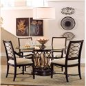 A.R.T. Furniture Inc Intrigue Round Glass Top Dining Table with Upholstered Arm & Side Chairs - 61224-2636TP+BS+2x161207+2x161206