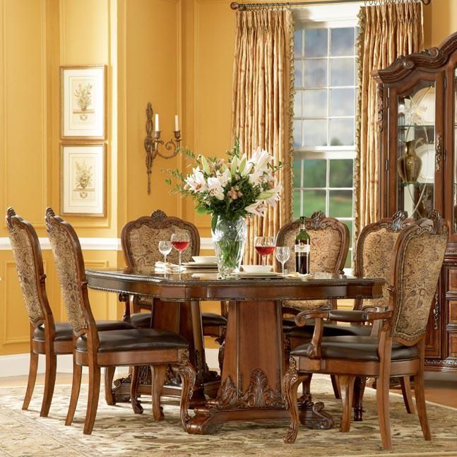 A.R.T. Furniture Inc Old World 7 Piece Double Pedestal Dining Table Set - Item Number: 43221+4x43206+2x43207