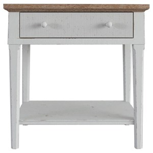 Two-Tone Nightstand with 1 Drawer and 1 Shelf