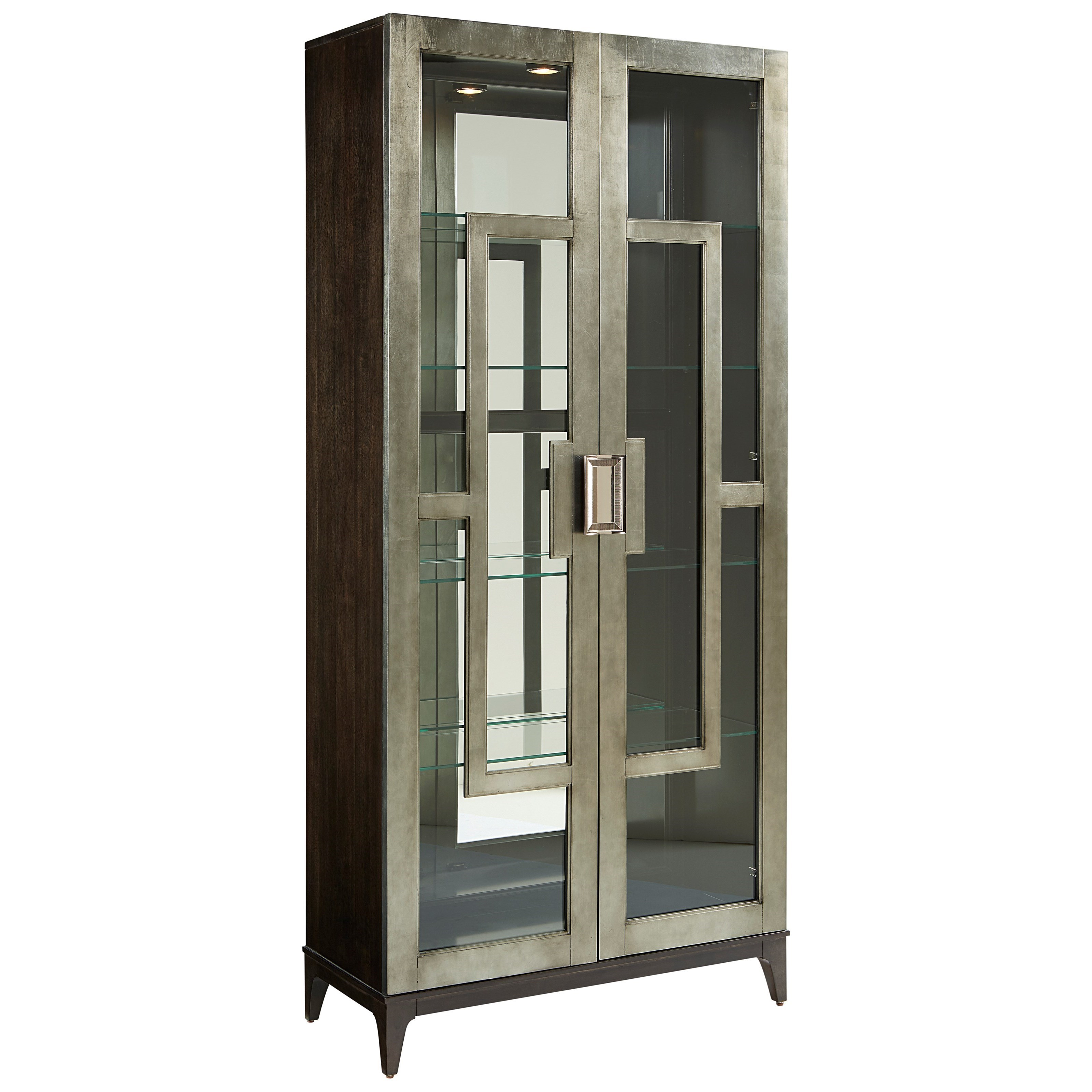 A R T Furniture Inc Prossimo Contemporary Art Deco Curio Cabinet With Touch Lighting Howell Furniture Curio Cabinets