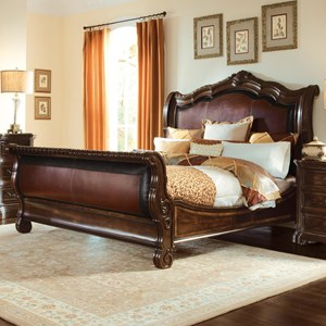 Queen Upholstered Sleigh Bed - Complete Set