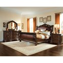 A.R.T. Furniture Inc Valencia Queen Leather Upholstered Sleigh Bed - Complete Set - 209155-2304