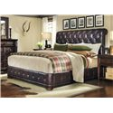 A.R.T. Furniture Inc Whiskey Oak Queen Leather Upholstered Platform Bed - Bed Shown May Not Represent Size Indicated