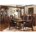 A.R.T. Furniture Inc Whiskey Oak 7-Piece Trestle Dining Room Set with Leather Chairs