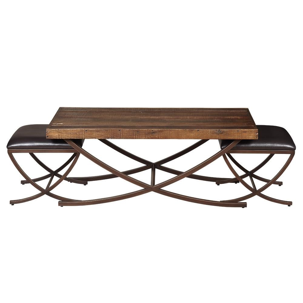 Artage International Brookwood Cocktail Table with 2 Benches - Item Number: 71309-0199