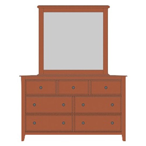 Artisan Choices Loft Triple Dresser & Tall Landscape Mirror by Artisan & Post at Mueller Furniture