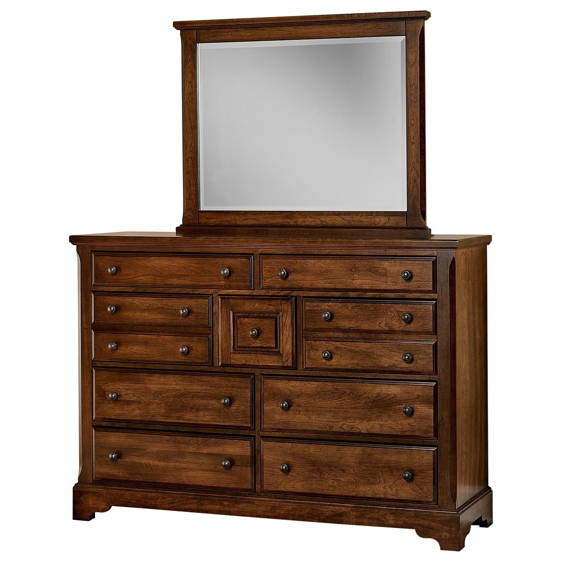 Artisan Choices Villa Triple Dresser & Landscape Mirror by Artisan & Post at Rooms and Rest