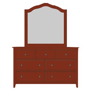 Artisan & Post by Vaughan Bassett Artisan Choices Loft Triple Dresser & Tall Arched Mirror