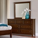 Artisan & Post by Vaughan Bassett Artisan Choices Loft Triple Dresser & Tall Landscape Mirror - Item Number: 104-003+445