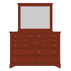 Artisan & Post by Vaughan Bassett Artisan Choices Villa Triple Dresser & Landscape Mirror