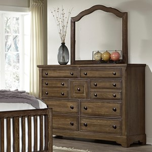 Artisan & Post by Vaughan Bassett Artisan Choices Villa Triple Dresser & Arched Mirror