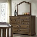 Artisan & Post by Vaughan Bassett Artisan Choices Villa Triple Dresser & Arched Mirror - Item Number: 106-004+442