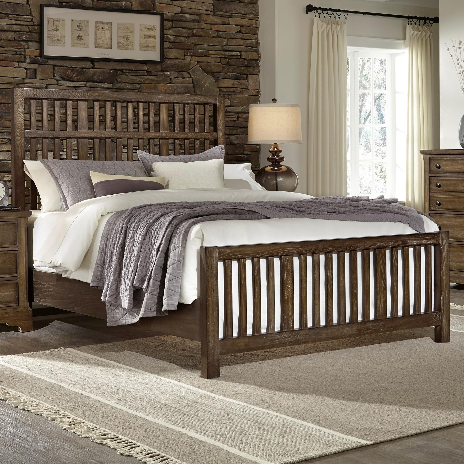 Artisan Choices King Craftsman Slat Bed by Virginia House at Virginia Furniture Market