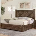 Artisan & Post Cool Rustic Solid Wood King Barndoor X Bed With Double Side Storage - Bed Shown May Not Represent Size Indicated. Storage On Both Sides Of Bed