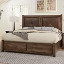 Artisan & Post Cool Rustic Solid Wood King Leather Headboard Bed with Storage Footboard - Bed Shown May Not Represent Size Indicated
