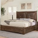 Artisan & Post Cool Rustic Solid Wood Queen Leather Headboard Bed with Side Storage
