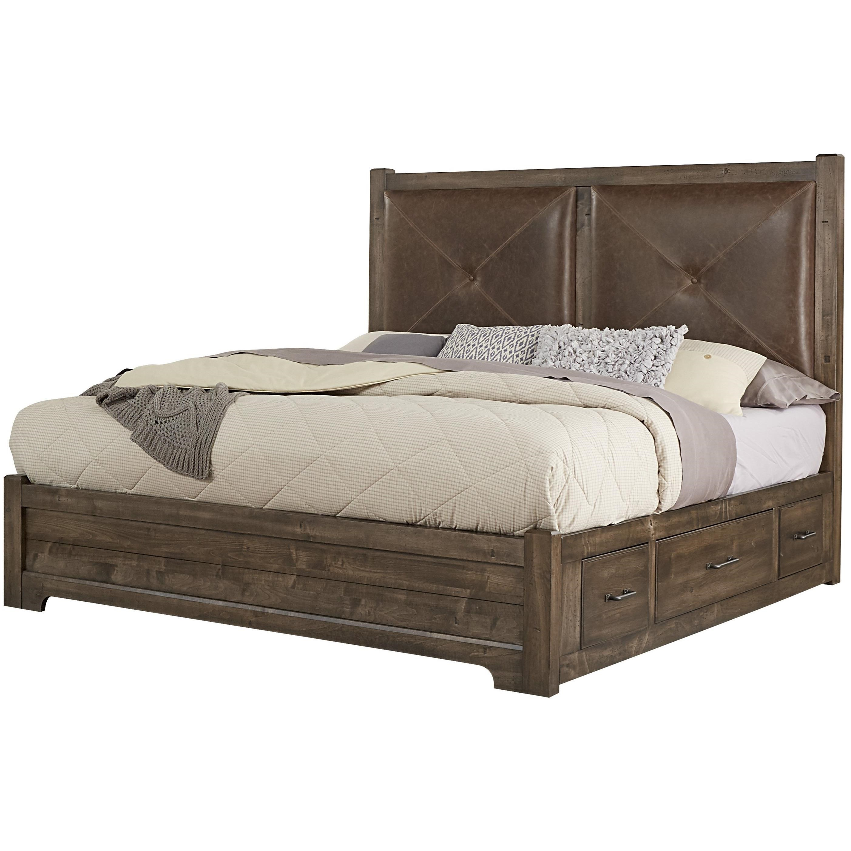 Post Cool Rustic Solid Wood Queen Leather Headboard Bed With Double Side Storage