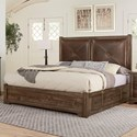 Artisan & Post Cool Rustic Solid Wood Queen Leather Headboard Bed with Double Side Storage - Storage On Both Sides Of Bed. Bed Shown May Not Represent Size Indicated