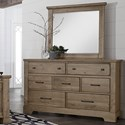 Artisan & Post Cool Rustic 7 Drawer Dresser and Mirror - Item Number: 172-002+446