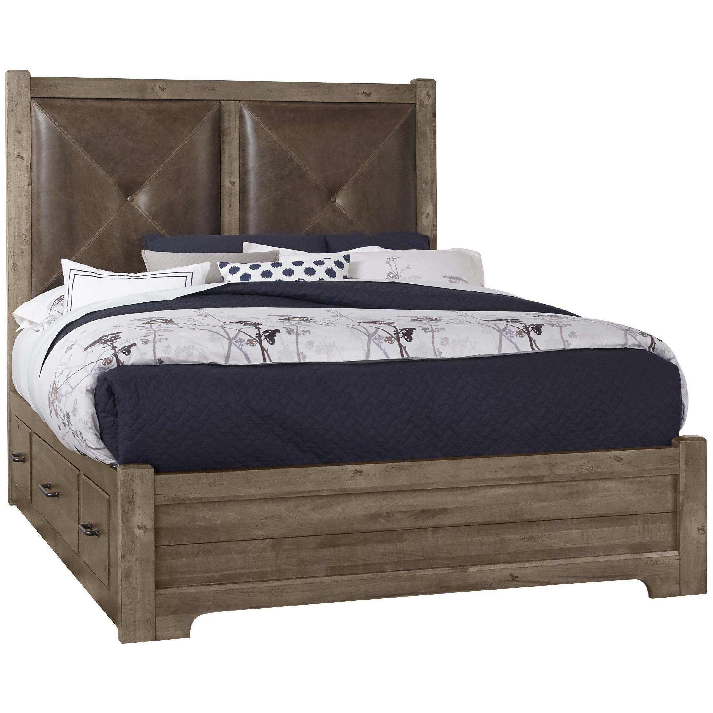Post Cool Rustic Solid Wood Queen Leather Headboard Bed With Side Storage