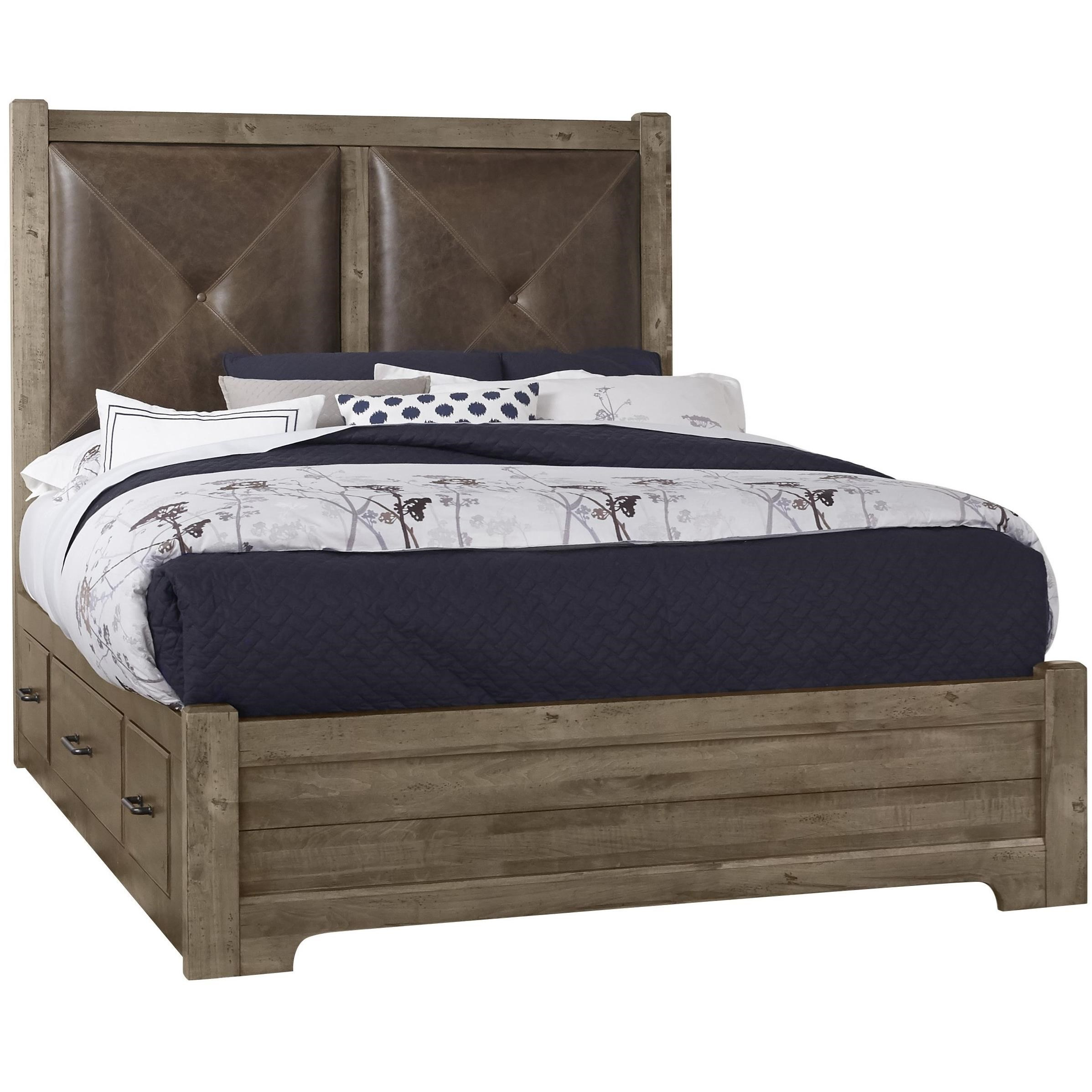 King Leather Bed with Double Side Storage