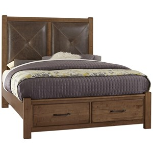 King Leather Bed with Storage Footboard