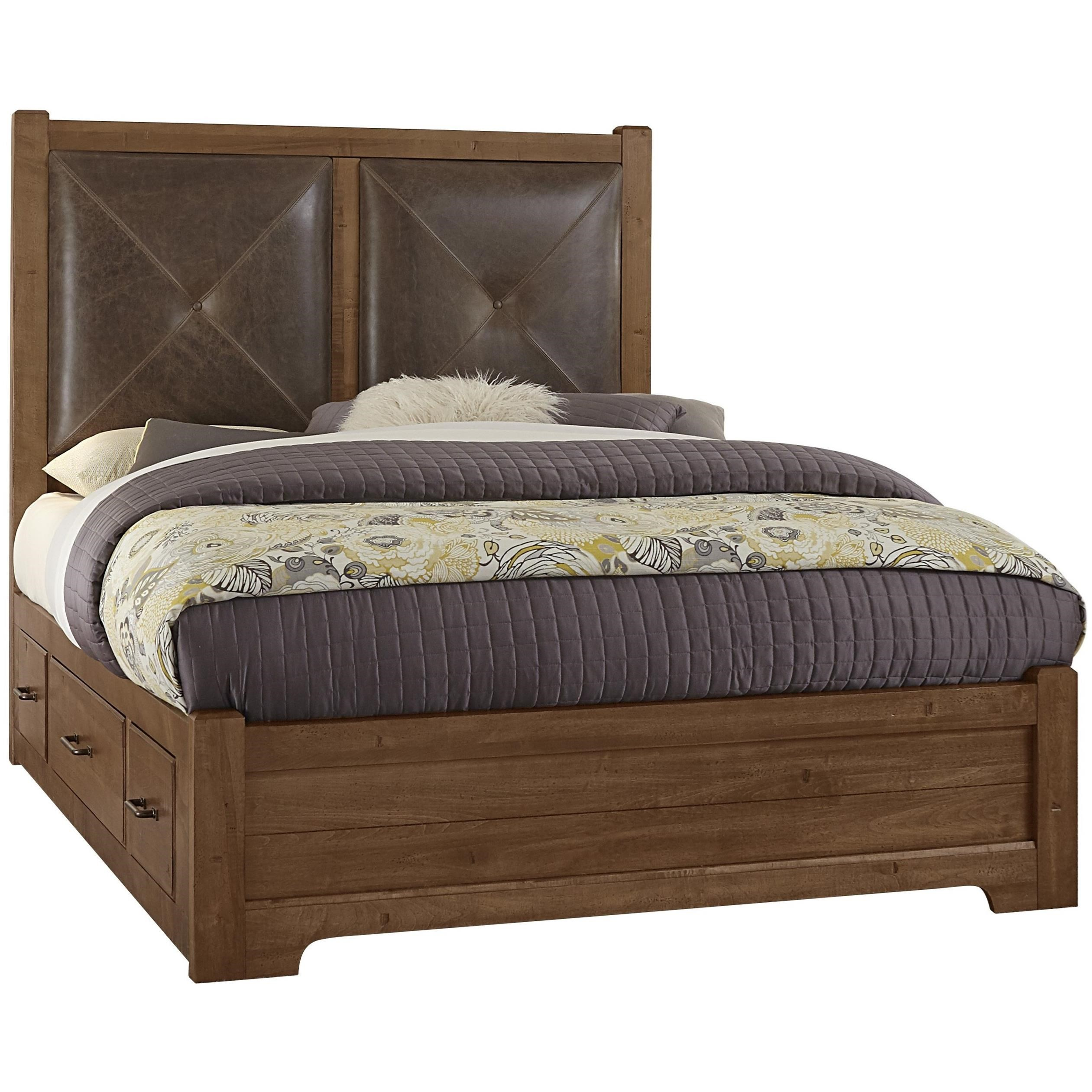 King Leather Bed with Side Storage