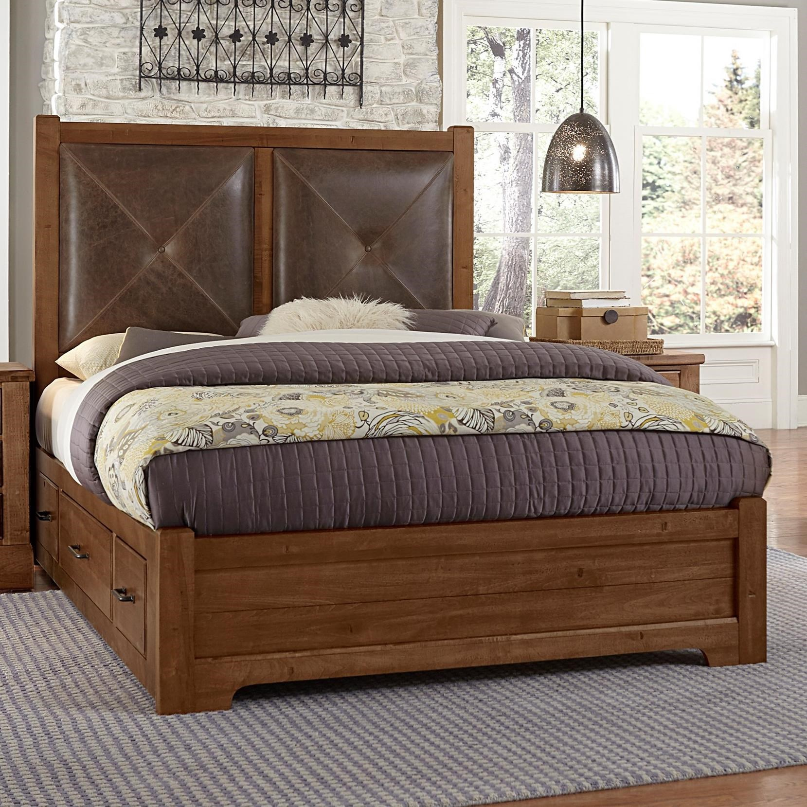 Artisan & Post Cool Rustic Solid Wood Queen Leather ...