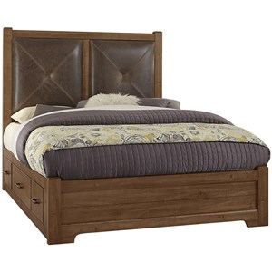 Queen Leather Bed with Side Storage