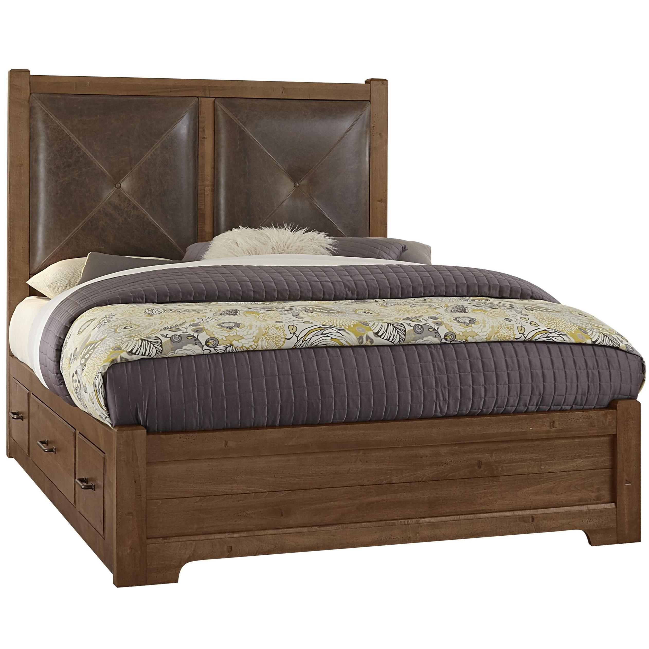 Queen Leather Bed with Double Side Storage