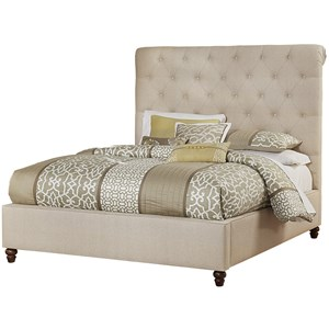 Artisan & Post Hamptons Queen Upholstered Roll Top Bed w/ Low Ftbd