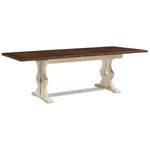 "Artisan & Post by Vaughan Bassett Simply Dining Trestle Table w/ self storing 16"" leaf"