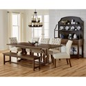 Artisan & Post Simply Dining Solid Wood Cherry Trestle Table w/ self storing 16