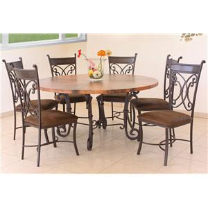 "International Furniture Direct 300 Valencia 60"" Round Copper Dining Set"