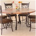 "International Furniture Direct 300 Valencia 47"" Round Copper Dining Table - Item Number: IFD301RND-B+302RND-47"