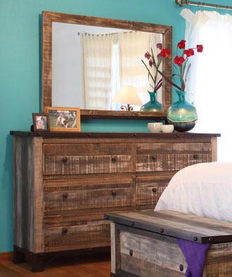 International Furniture Direct 970 Dresser/Mirror - Item Number: P96644