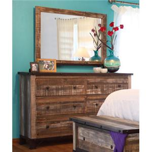 International Furniture Direct 970 Dresser/Mirror