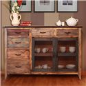 International Furniture Direct 900 Antique Multicolor Buffet with 6 Drawers - Item Number: IFD963BUFFET-MC