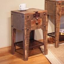 International Furniture Direct 900 Antique Lift Top Chair Side Table