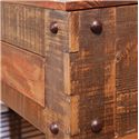 International Furniture Direct 900 Antique Rustic Lift Top End Table with 1 Drawer