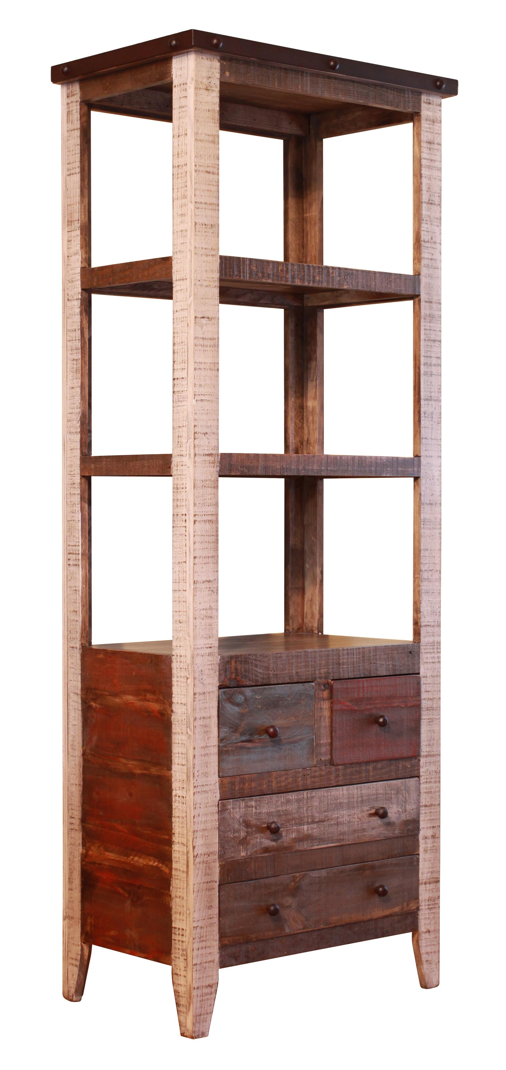 International Furniture Direct 900 Antique Pier with 4 Drawer and 3 Shelves - Item Number: IFD964PIER