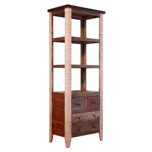 International Furniture Direct 900 Antique Pier with 4 Drawer and 3 Shelves