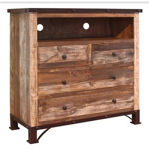 International Furniture Direct 900 Antique 4 Drawer Media Chest