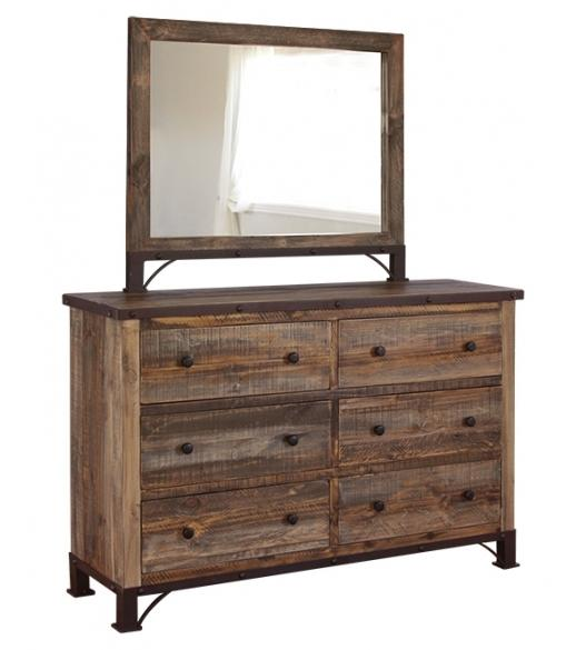 International Furniture Direct 900 Antique Dresser and Mirror - Item Number: IFD966DSR+MIRR