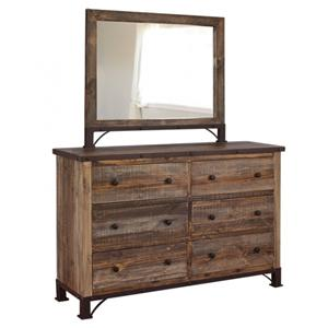 International Furniture Direct 900 Antique Dresser and Mirror