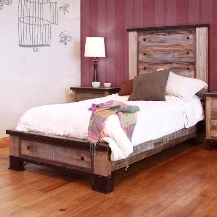 International Furniture Direct 900 Antique Full Platform Bed - Item Number: IFD966HDBD-F+PLTFRM-F