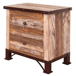 International Furniture Direct 900 Antique 2 Drawer Night Stand