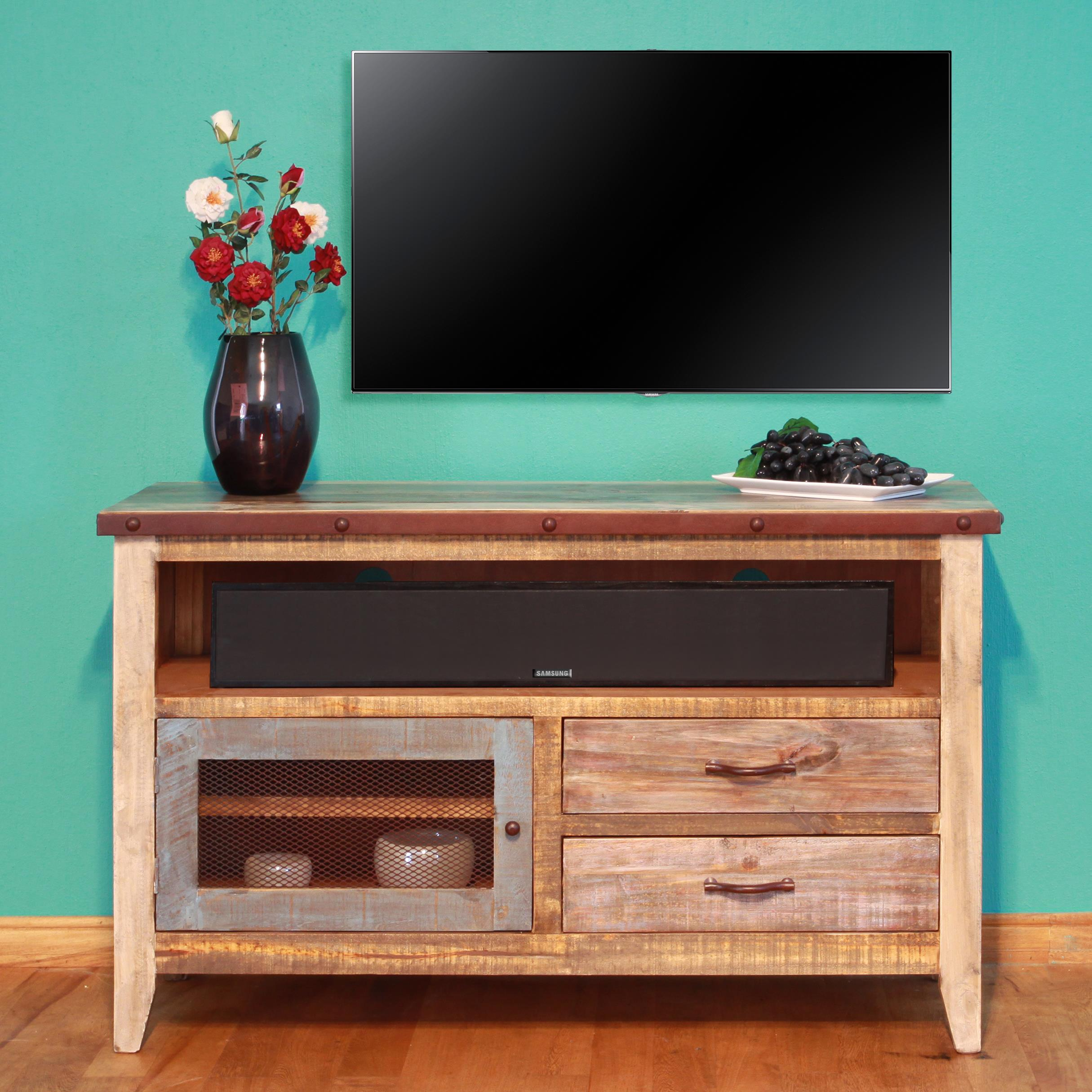 "International Furniture Direct 900 Antique Solid Pine 52"" TV Stand - Item Number: IFD966STAND"